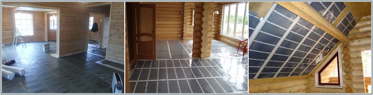 Инфракрасный теплый пол в деревянном доме фото