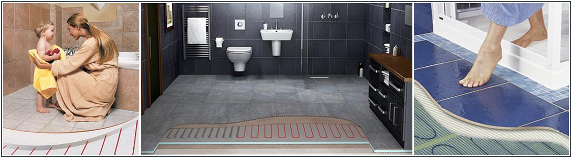Теплый пол в ванной комнате фото